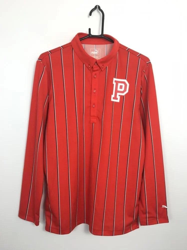 プーマ 長袖ポロシャツ レッド×白×ダークネイビー