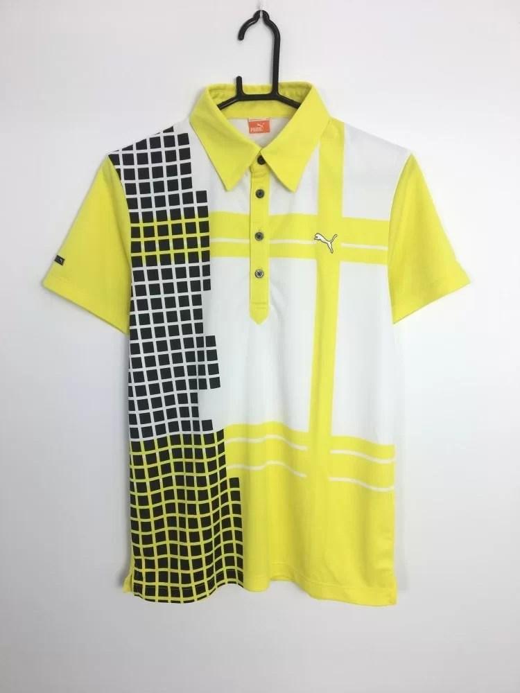 プーマ 半袖ポロシャツ イエロー×白×黒 格子柄