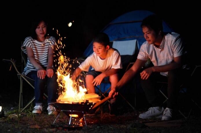 家族で焚き火