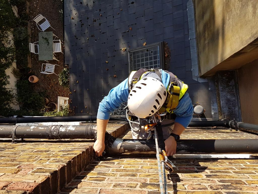 rope access soil pipe repair