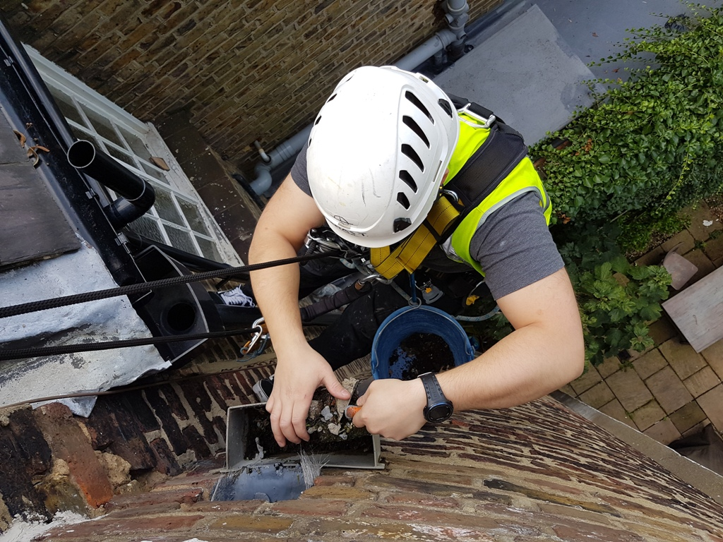 abseiling hopper cleaning