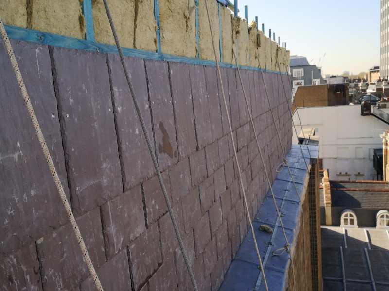 slate cladding installation