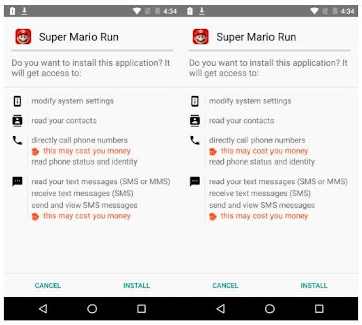 Super Mario Run Android malware