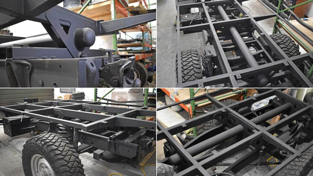 image of 4 views of a unimog re-designed custom subframe made by Reparadise in Utah