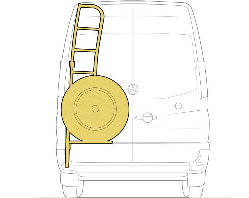 Sprinter Camper Van Spare tire carrier and ladder