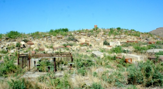 """The """"very old"""" cemetery at the base of the monastery."""
