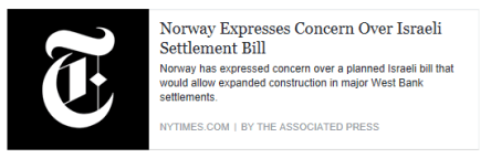 norway-expresses-concern-over-israeli-settlement-bill-new-york-times