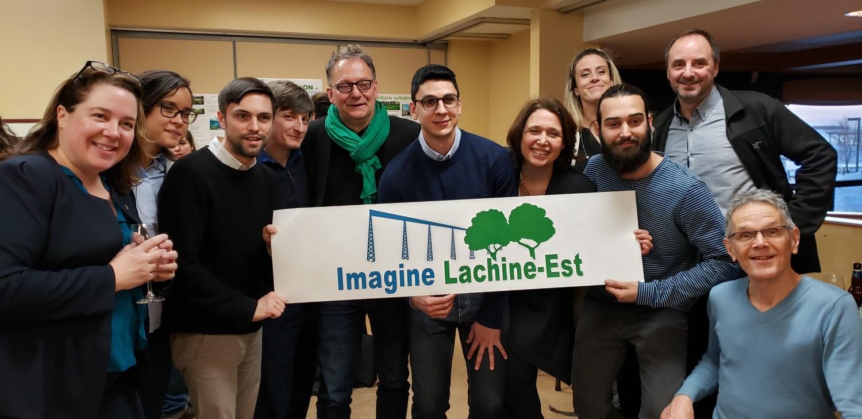 Des membres de l'exécutif de l'organisme Imagine Lachine-Est avec Alain Jude, maire adjoint de Strasbourg et Maja Vodanovic, mairesse de Lachine.