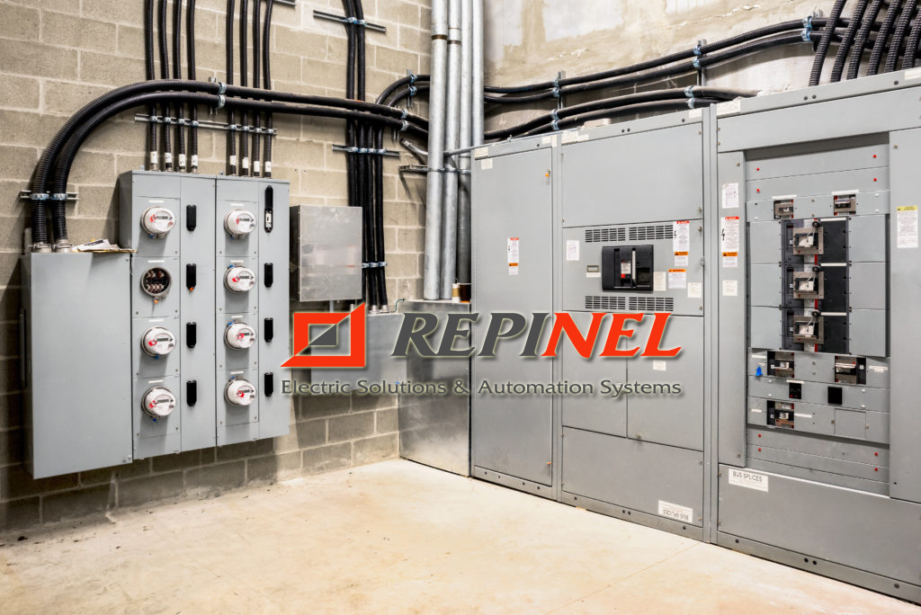 Electrical room of residential or commercial building. Multiple