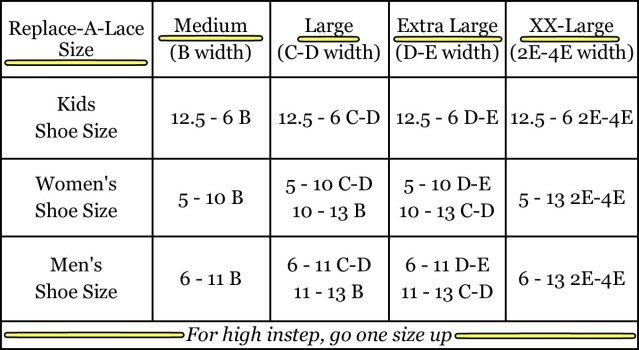 Replace-A-Lace size guide
