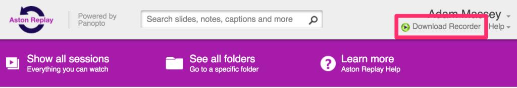 Download Recorder link in header