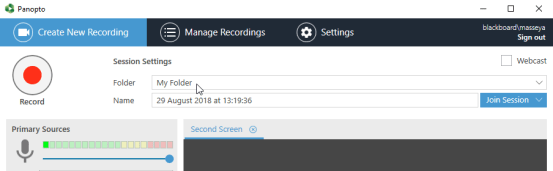 Personal Folder selected in the Windows Recorder