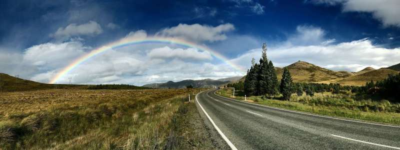 Rainbow and roadway
