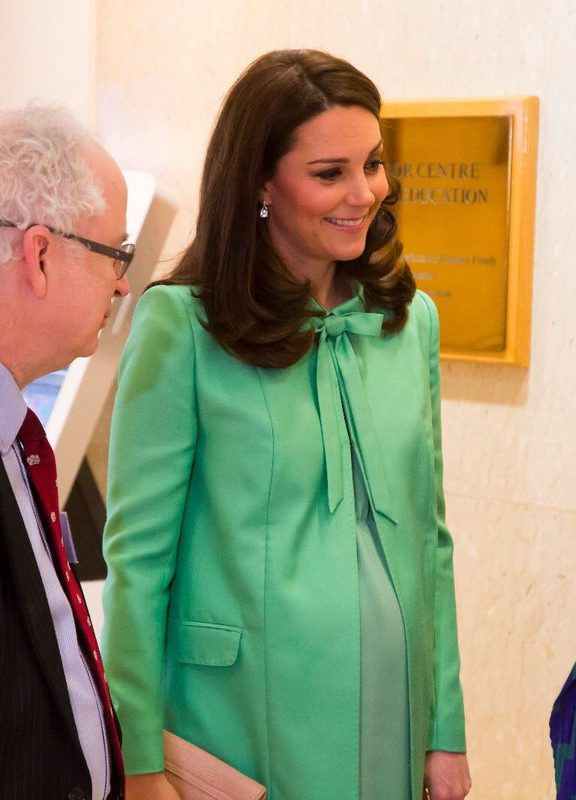 The Duchess of Cambridge in a mint green coat from Jenny Packham. (Kensington Palace)