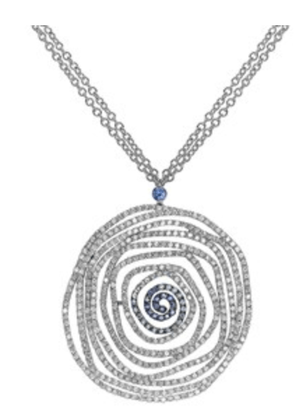 Hettich Sapphire and Diamond Circle Open Work Pendant