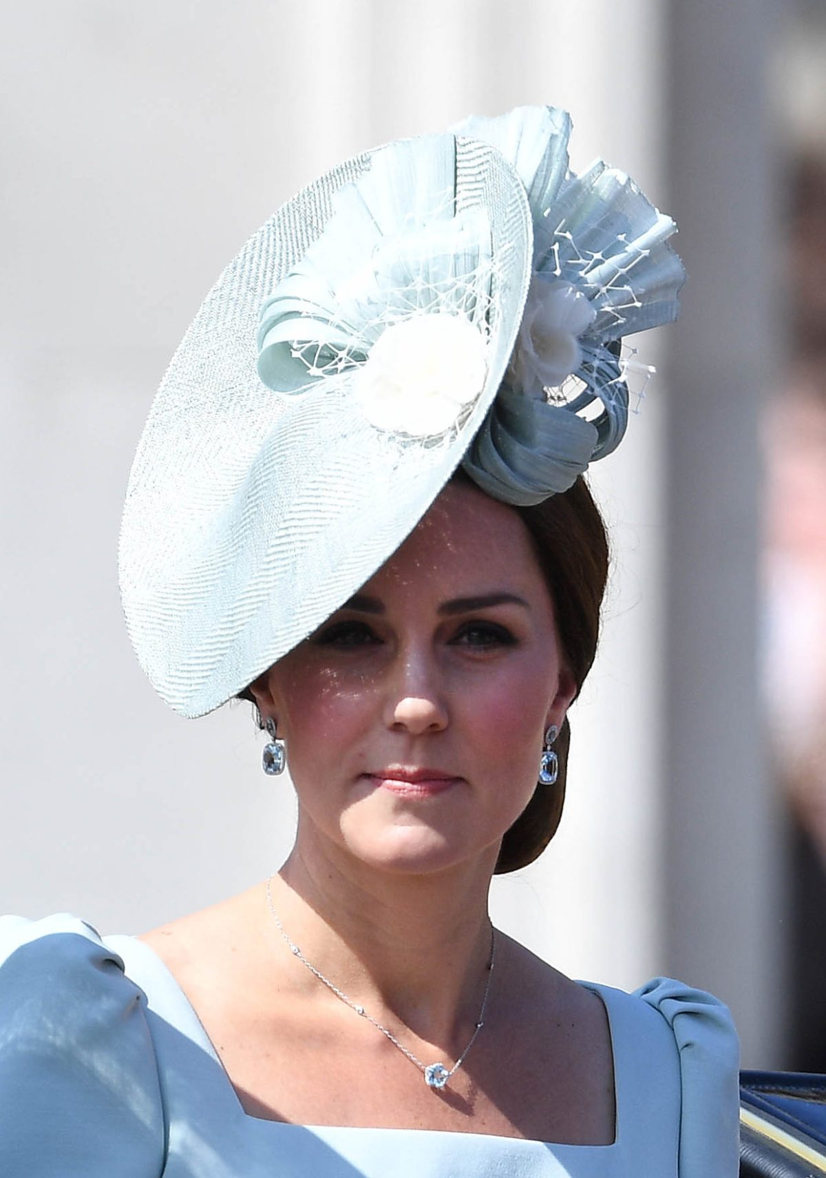 Kate, The Duchess of Cambridge wears ice blue Alexander McQueen and Juliet Botterill for Trooping the Colour 2018. Picture by Andrew Parsons / i-Images