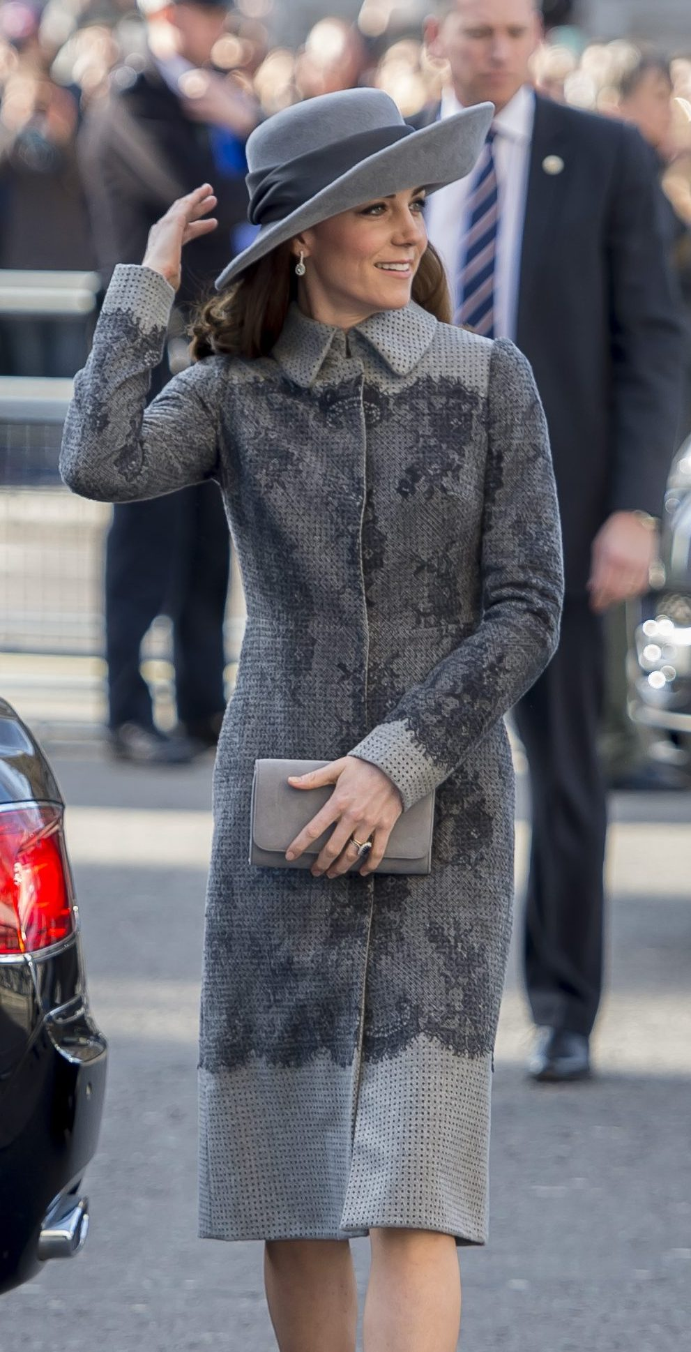 The Duchess of Cambridge in a custom grey lace coat by Erdem. David Mirzoeff / i-Images