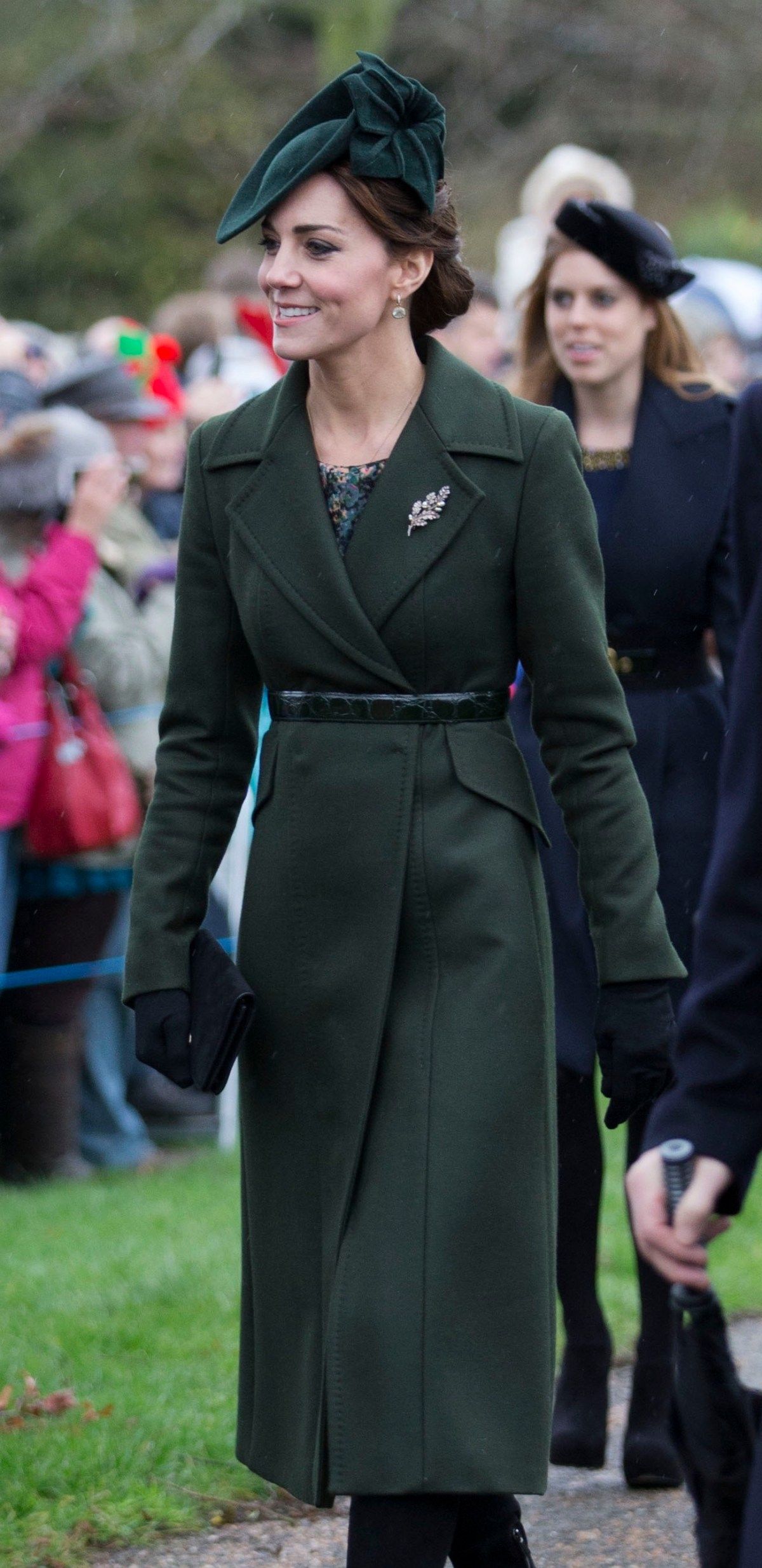 Image ©Licensed to i-Images Picture Agency. 25/12/2015. Sandringham, United Kingdom. The Duchess of Cambridge  arriving at the  Christmas Day church service at Sandringham. Picture by Stephen Lock / i-Images