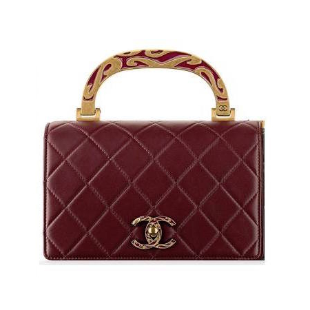 Chanel burgundy calfskin enamel top-handle bag