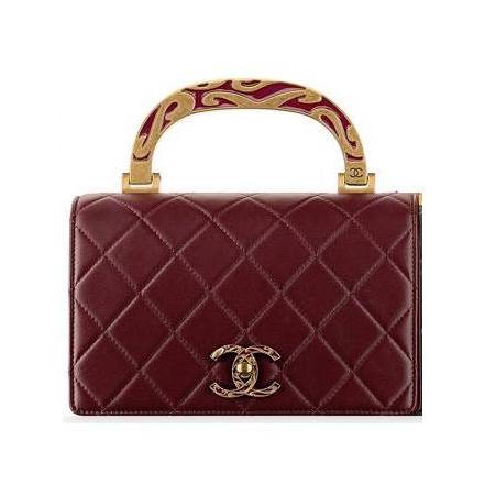 Chanel burgundy calfskin enamel top-handle bag