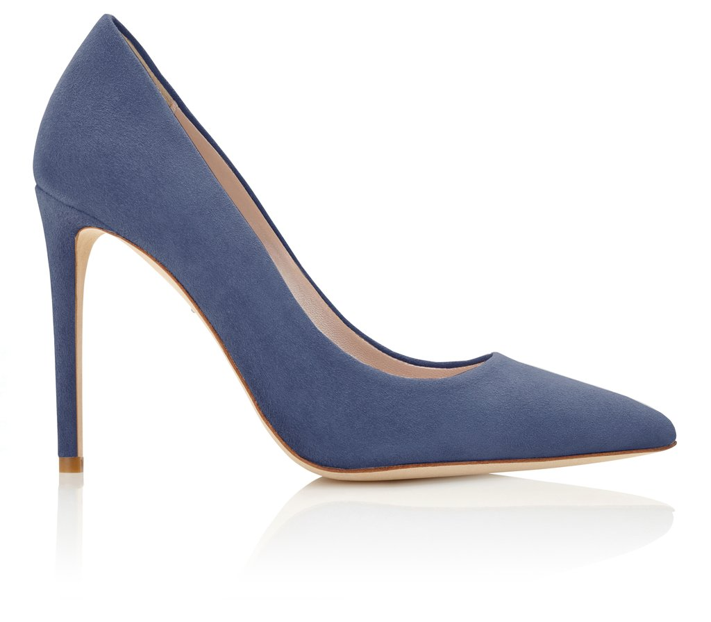 Emmy London Rebecca Riviera pumps in blue grey suede.  £425. https://www.emmylondon.com/collections/occasion-shoes/products/rebecca-riviera?variant=43202496339#p-a-stylish-pointed-court-shoe-in-a-summery-blue-grey-suede-rebecca-in-riviera-is-perfect-for-creating-a-chic-effortless-look-with-a-super-straight-heel-that-is-flattering-to-your-foot-and-leg-this-new-addition-to-the-emmy-london-collection-is-great-for-your-workwear-wardrobe-but-also-looks-fantastic-at-the-after-work-drinks-p-p-size-amp-fit-information-p-ul-li-10-5cm-4-5in-heel-height-li-li-riviera-blue-grey-kid-suede-li-li-fit-is-true-to-size-li-li-nubuck-leather-sole-li-li-standard-width-fit-li-li-designed-amp-hand-finished-in-london-li-li-hand-made-in-portugal-li-ul  https://www.emmylondon.com/collections/occasion-shoes/products/rebecca-riviera?variant=43202496339