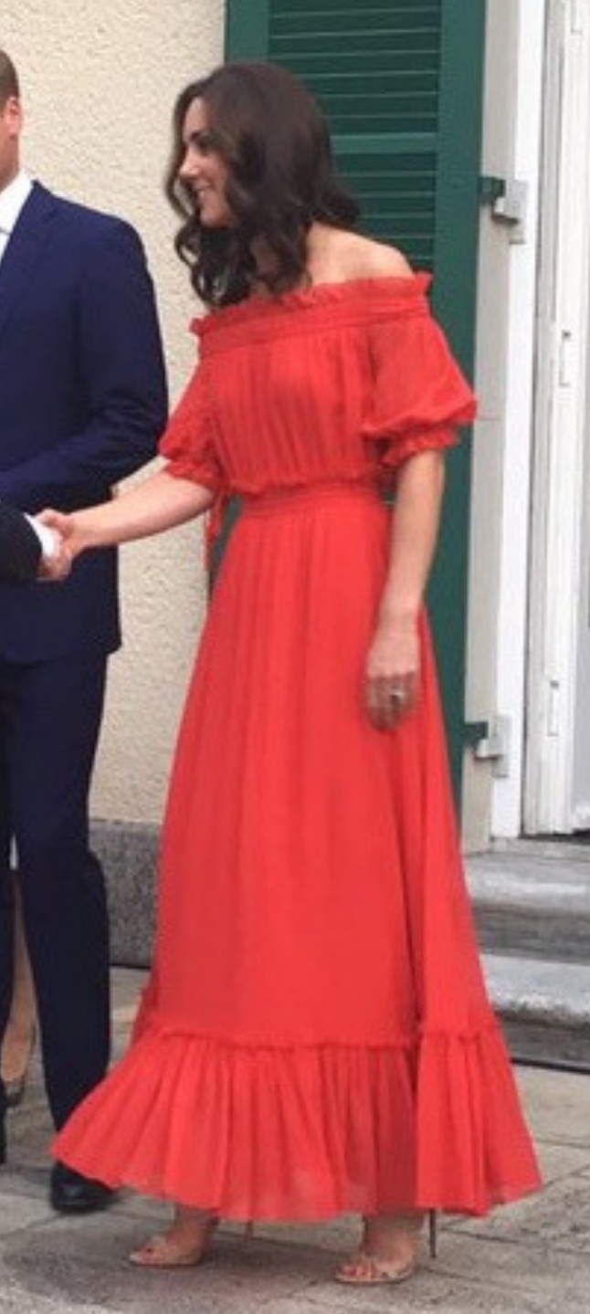 McQueen red shirred maxi dress (Kensington Palace)