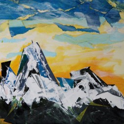 Grand Teton no. 23, Acrylic and collage on board, 12 x 12 in.