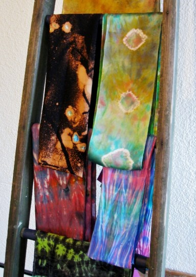 Scarves, dyed woven silk, Red Door Gallery, Ludington, Michigan, July 2009.