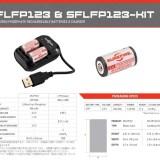 SUREFIRE新製品のリチウムイオン蓄電池SFLFP123×2本と充電器のセットが入荷。