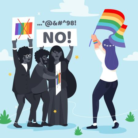 Ilustración sobre grupos de odio contra la población LGBTI.