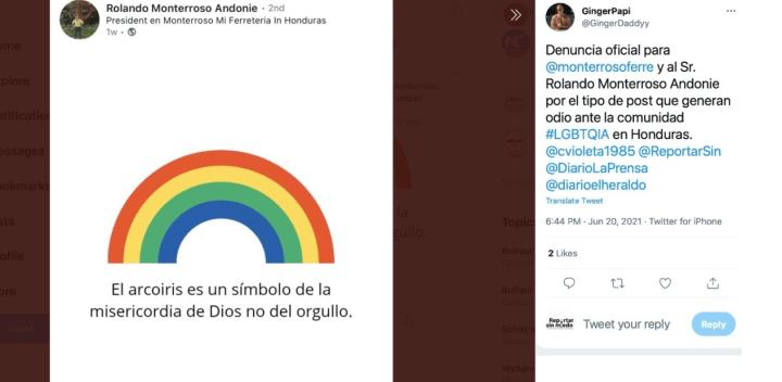 Captura de pantalla de la denuncia en Twitter.