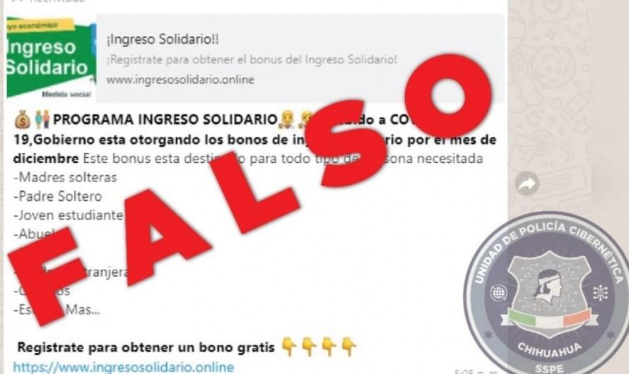 Policía Estatal: ¡Alerta en Chihuahua! página falsa ofrece apoyo por COVID-19