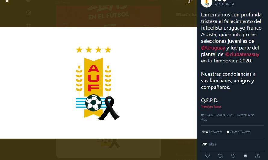 #Uruguay | Encontraron sin vida al futbolista Franco Acosta