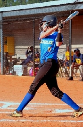 Chamblee's Ansley Mepham had a big day at the plate with a two-run double and a two-run homer in her team's tough 8-6 loss to Southwest DeKalb. (Photo by Mark Brock)