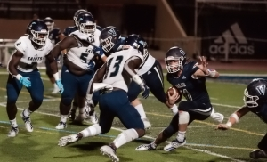 Cedar Grove's Janiran Bonner (13) fills a hole against Valor Christian during the Saints comeback victory over the defending Colorado Class 5A state champion. (Photo courtesy of Friday Night Stripes)