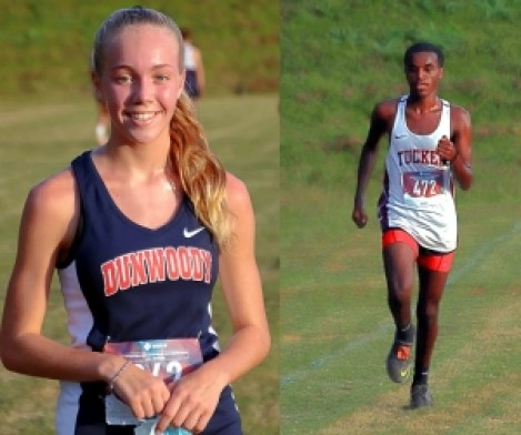Dunwoody's Claire Shelton (left) had the fastest girls' time of the meet on Tuesday and Tucker's Yordanos Ephram (right) had the fastest boys' time. (Photos by Mark Brock)