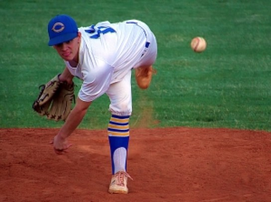 Chamblee senior Patrick Smith struck out an Senior All-Star Classic 15 batters and set a record of eight innings pitched in the West Seniors' 16-0 victory over the East. (Photo by Mark Brock)