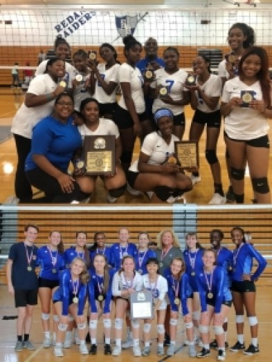 The 2019 Columbia Lady Eagles (top) and Chamblee (bottom) took home bracket titles in the 2019 DCSD Spikefest.