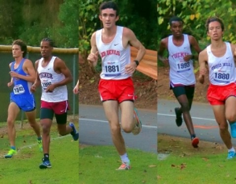 Druid Hills Sage Walker (middle photo) clocked a DeKalb County season's best of 16:46.85 to win the individual boys' gold medal. (Photos by Mark Brock)