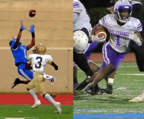 Stephenson's Rahim Diarrassouba (1) (left photo) hauls in a catch on the sideline against Lithonia and (right photo) Miller Grove's Jayden Brown (1) cuts upfield against Lakeside. Stephenson and Miller Grove collide in a Region 6-4A game on Friday night at Hallford Stadium. (Photos by Mark Brock)