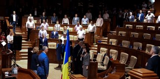 A general view during the inauguration ceremony of the new-named Government during the parliamentary session in Parliament building in Chisinau Moldova, 08 June 2019. After forming the majority, parliament voted Zinaida Grecianii as Speaker and Maia Sandu as Prime Minsiter. EPA/STR