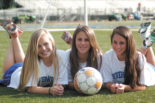 Erin Woodruff, Alexis de Groot and Carly Aronin, left to right, were soccer standouts.