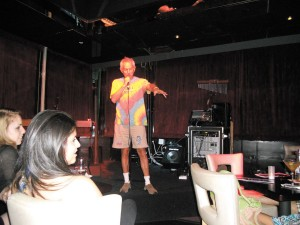 Long-time Atlanta comedian Jerry Farber entertains the crowd at his latest nightclub in Buckhead, which provides a venue for young musicians and comedians looking to practice and perform.