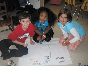 Left to right, Woodland second graders Liam Hill, Nysa Pierre and Lexy Faklaris study and compare holiday celebrations of yesteryear to today.
