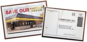 Post cards from a campaign to save the Waffle House.