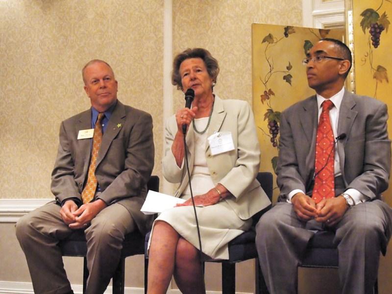Left to right, Dunwoody Mayor Mike Davis, Sandy Springs Mayor Eva Galambos and DeKalb CEO Burrell Ellis.