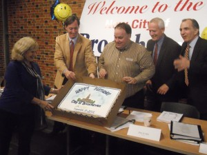 Members of Brookhaven City Council display a birthday cake for the new city on Dec. 17, 2012, the day the city opened for business. Left to right: Councilwoman Rebecca Chase Williams, Councilman Bates Mattison, Mayor J. Max Davis, Councilman Jim Eyre and Councilman Joe Gebbia.