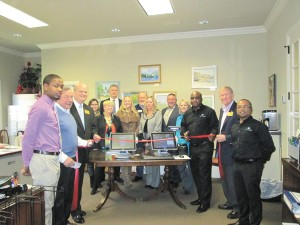 HarborTouch, a supplier of point of sale systems, credit card processing equipment and other merchant services, joined the Dunwoody Chamber of Commerce. From left, Sean Carter, HarborTouch, Bill Grant, Bill Grant Homes, Dunwoody City Councilman Terry Nall, Dorothy Burke, Dunwoody Chamber of Commerce, Debbie Fuse, executive director, Dunwoody Chamber of Commerce, Kevin Mahony, Dr. Erika Henry, Glen Fuse, Dunwoody Chamber of Commerce, Sara Massey, Daniel Mastrodonato, MJ Thomas, Malcolm Battle, regional manager, HarborTouch, Denny Shortal, Dunwoody Mayor Pro Tem, Gerald White, HarborTouch.