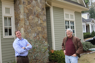 Dan Bauer and Tom Gordon, the president of the Ardmore Park Civic Association, chit chat and crack jokes outside Bauer's home during a Jan. 28 interview. /Dan Whisenhunt