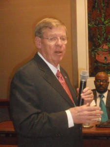 Sen. Johnny Isakson, R-Georgia, speaks to members of the Sandy Springs/Perimeter Chamber of Commerce on Feb. 11.